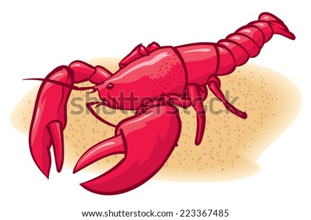 An Illustration of a red lobster on the beach - stock vector