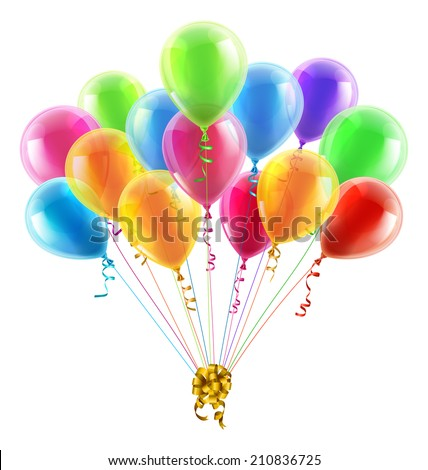 An illustration of a set of colourful birthday or party balloons with ribbons tied together with a big gold bow - stock vector