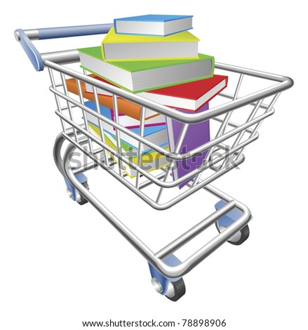An illustration of a shopping cart trolley full of books - stock vector