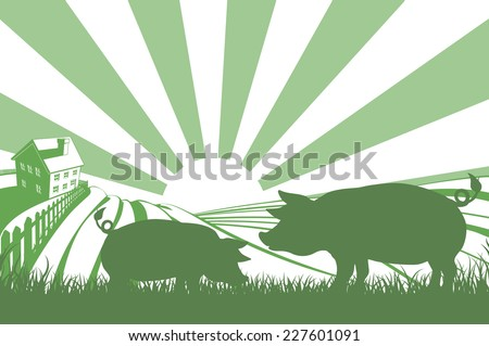 An illustration of a silhouette pigs in a field on a farm with sunrise and farmhouse in the background - stock vector