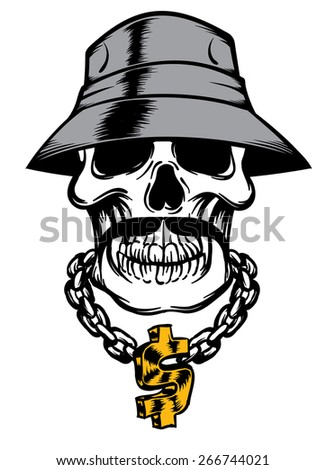 An Illustration of a Skull With hat and Necklace - stock vector