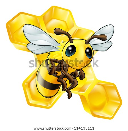 An illustration of a smiling cartoon bee with honeycomb
