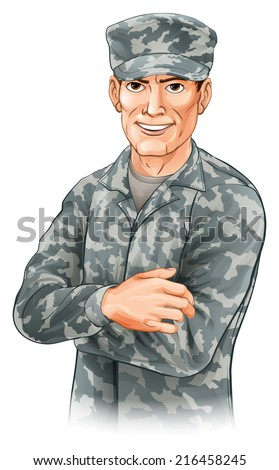 An illustration of a smiling soldier wearing camouflage combat uniform with his arms folded - stock vector