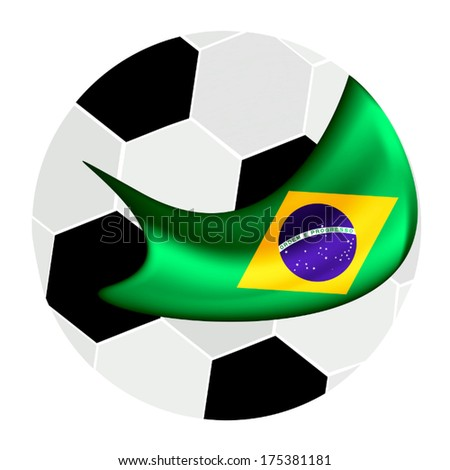 An Illustration of A Soccer Ball or Football with A Brazil Flag in Brazil , Isolated on A White Background.  - stock vector