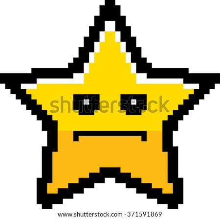 An illustration of a star looking serious in an 8-bit cartoon style. - stock vector