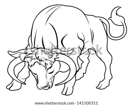 An illustration of a stylised black bull perhaps a bull tattoo - stock vector
