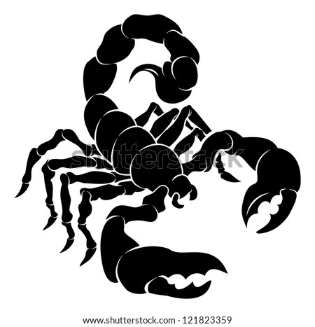 An illustration of a stylised black scorpion perhaps a scorpion tattoo - stock vector