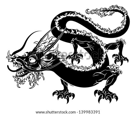 Simple Chinese Dragon Tattoo