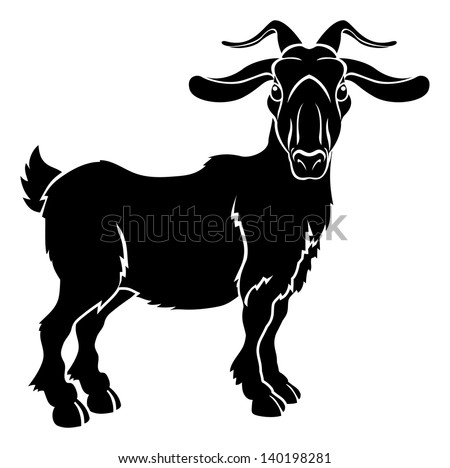 An illustration of a stylised goat or ram perhaps a goat tattoo - stock vector
