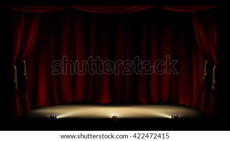 An illustration of a theatre or theater stage with footlights and red curtain backdrop