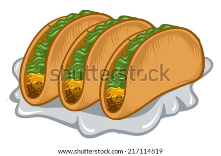 An Illustration of a three stuffed tacos. - stock vector