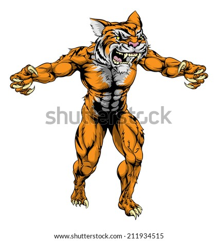 An illustration of a Tiger scary sports mascot with claws out - stock vector