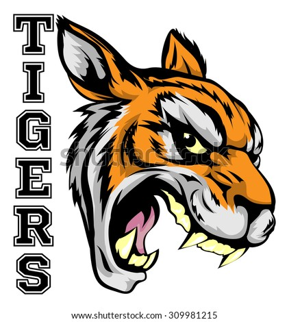 An illustration of a tiger sports mascot head with the word tigers - stock vector