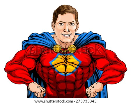 An illustration of a tough cartoon superhero character with hands on hips - stock vector