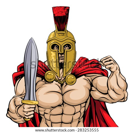 An illustration of a tough mean looking gladiator, ancient Greek, Trojan or Roman warrior or gladiator wearing a helmet and holding a sword - stock vector