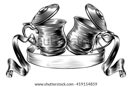 An illustration of a traditional Oktoberfest style  beer stein or tankards chinking together in a prost toast with banner or scroll in a woodcut style  - stock vector