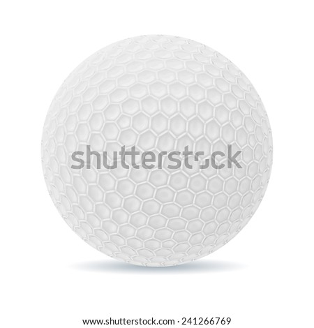 An illustration of a traditional white golf ball isolated on white - stock vector