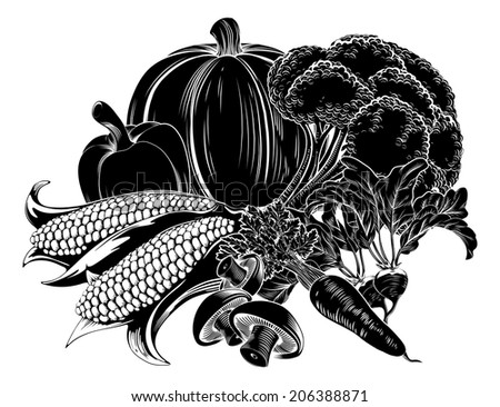 An illustration of a vegetables, could be a food label or menu icon for vegetarian options