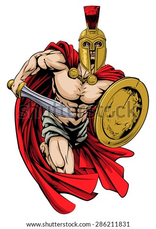 An illustration of a warrior character or sports mascot  in a trojan or Spartan style helmet holding a sword and shield - stock vector