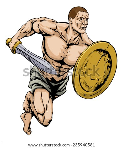 An illustration of a warrior or gladiator man character or sports mascot holding a sword and shield - stock vector