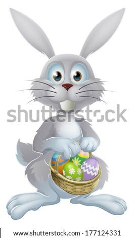 An illustration of a white Easter bunny rabbit holding a basket of decorated painted chocolate Easter eggs - stock vector