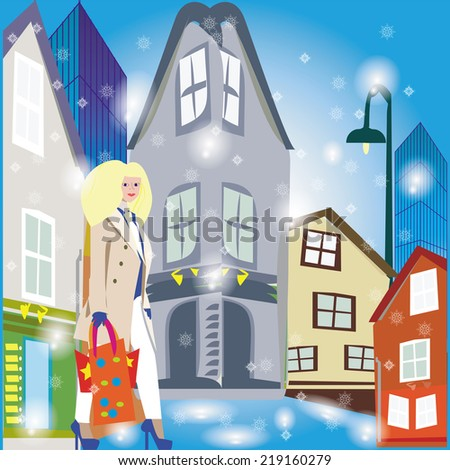 An illustration of a winter street with old and modern buildings on and a lady walking with shopping bags. - stock vector