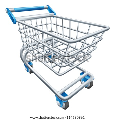 An illustration of a wire supermarket shopping cart trolley or basket - stock vector