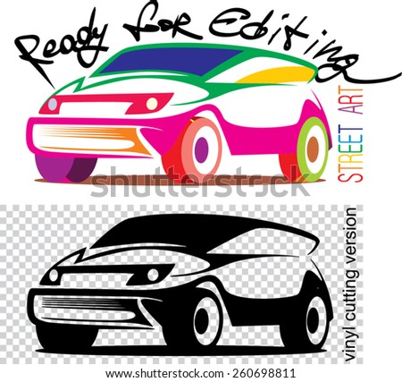 an illustration of abstract car silhouette - stock vector