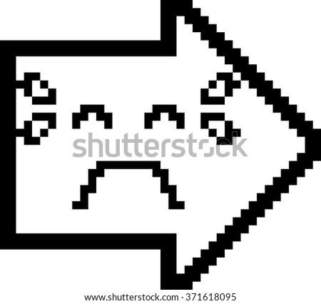 An illustration of an arrow crying in an 8-bit cartoon style. - stock vector