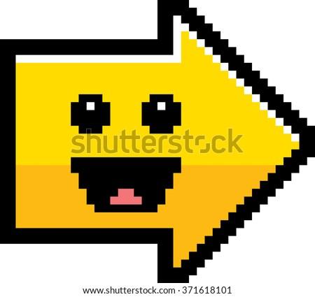 An illustration of an arrow smiling in an 8-bit cartoon style. - stock vector