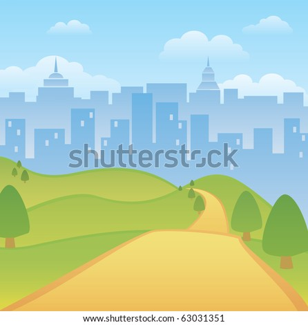 An illustration of an empty park with city buildings in the background. - stock vector