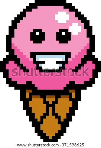 An illustration of an ice cream cone smiling in an 8-bit cartoon style.