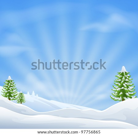 An illustration of an idyllic snow covered Christmas landscape with large sky area for copy when used as a holiday background - stock vector