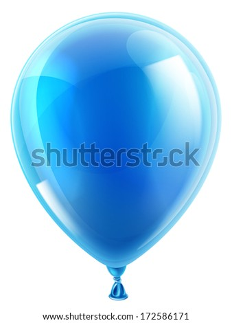 An illustration of an isolated blue birthday or party balloon - stock vector
