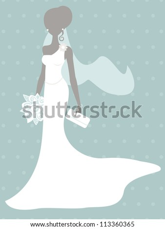 An illustration of beautiful bride silhouette - stock vector