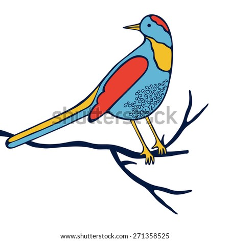 An illustration of beautiful colorful bird in vector format - stock vector
