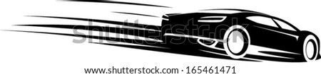 an illustration of black car silhouette with motion lines - stock vector