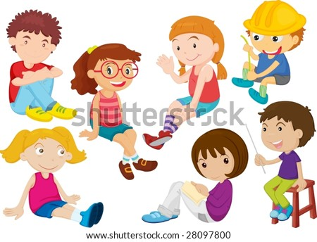 an illustration of boy and girls doing different things - stock vector
