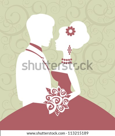 An illustration of bride and groom in love - stock vector