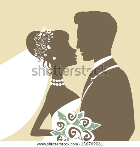 An Illustration of bride and groom kissing - stock vector