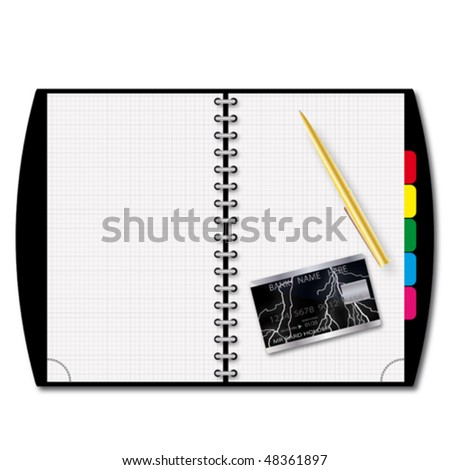 an illustration of checkbook with a gold pen a credit card for your design project.