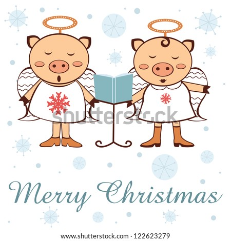 An illustration of Christmas pigs-angels singing - stock vector