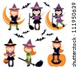 An illustration of cute little witches - stock vector