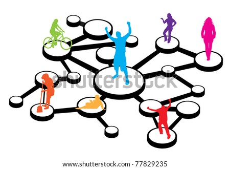 An illustration of different types of people connected in different ways.  This works great for social networking or word of mouth referral marketing concepts. - stock vector