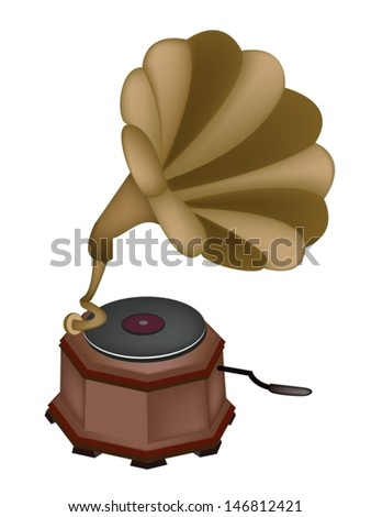 An Illustration of Golden Gramophone or Turntable Isolated on White Background