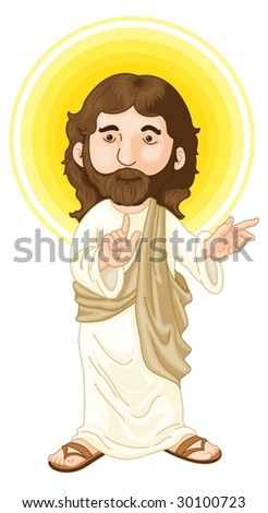 an illustration of jesus christ - stock vector