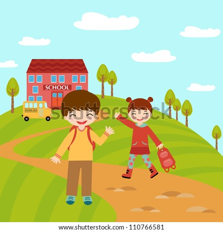 An illustration of kids going to school - stock vector