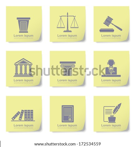 An illustration of law icons on yellow slips - stock vector