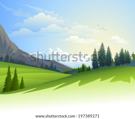 An illustration of lush green fields with hills and icy mountains