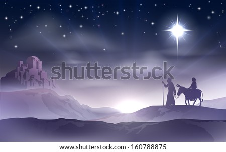 An illustration of Mary and Joseph in the dessert with a donkey on Christmas Eve searching for a place to stay. Bethlehem city in the background. Nativity story illustration. - stock vector